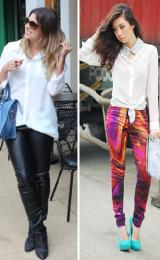 calça de couro coloridas