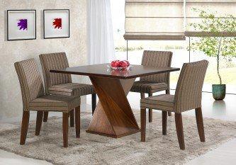 mesa para sala de jantar com 4 cadeiras de madeira
