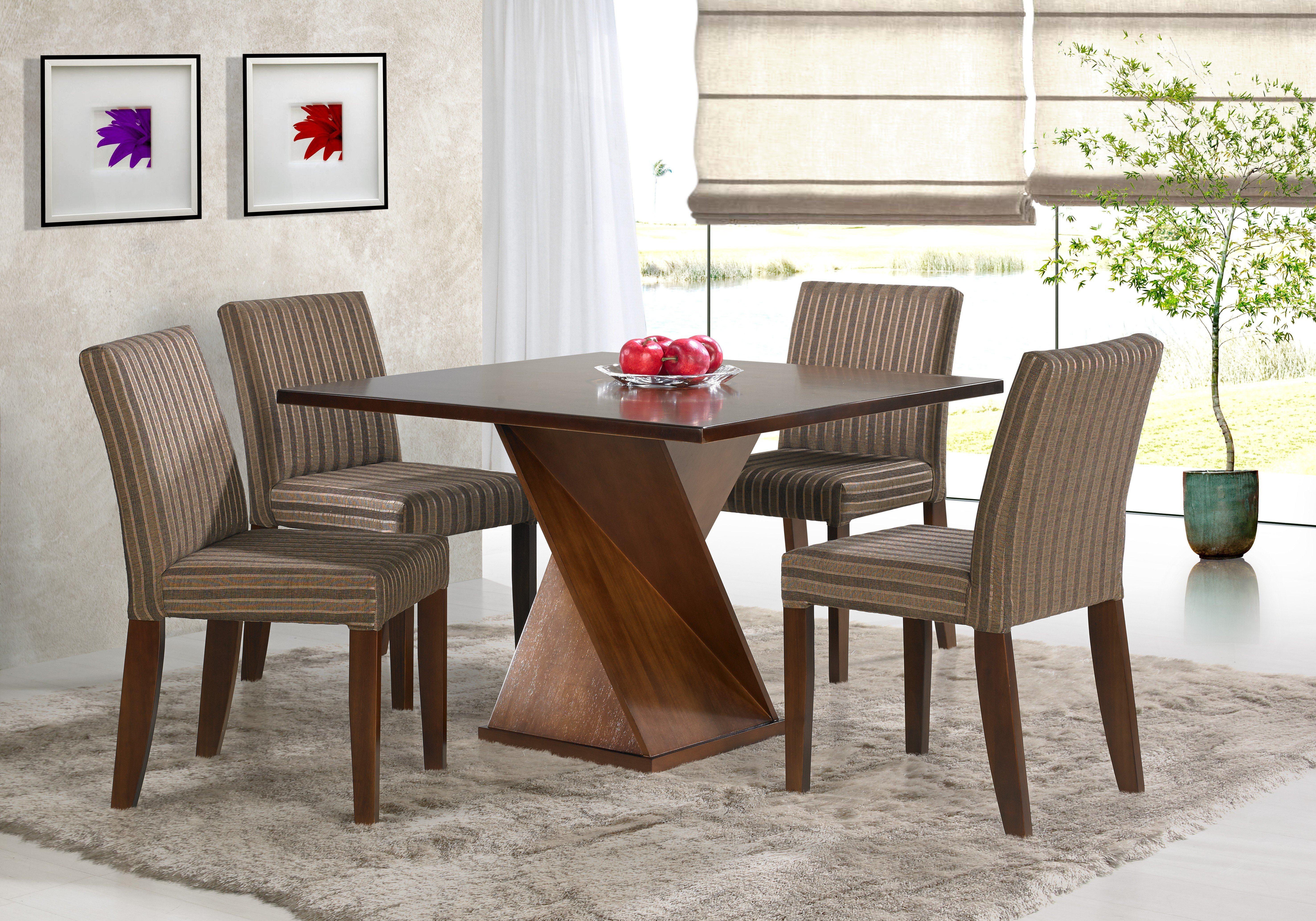 mesa para sala de jantar com 4 cadeiras de madeira #651086 5906x4134