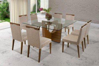 mesa para sala de jantar com 8 cadeiras de vidro