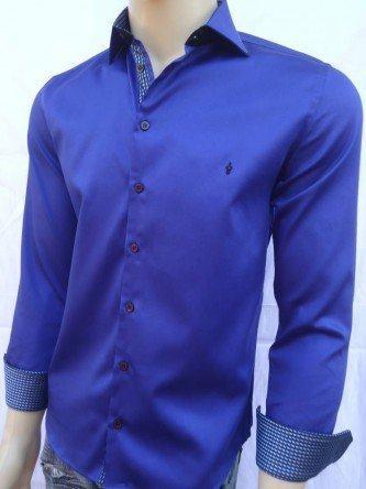 camisa masculina social azul