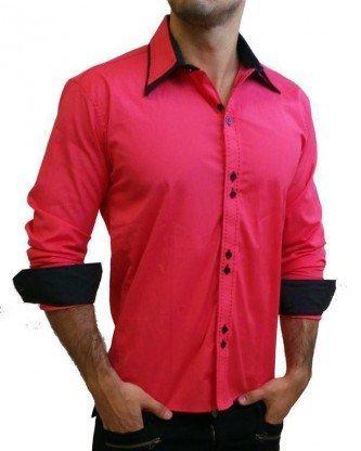 camisa masculina social rosa