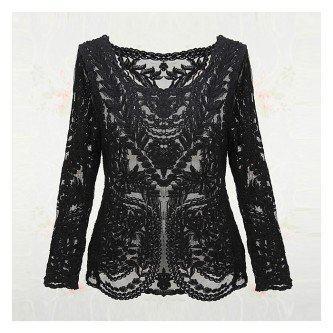 blusas de renda preta