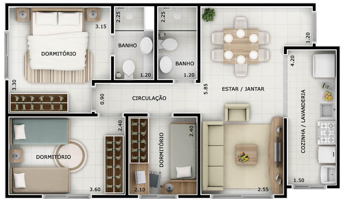 Plantas De Casas Sala E Cozinha Conjugada Oppenau Info -> Quarto Sala E Cozinha Conjugadas