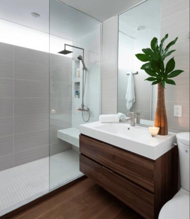 Decoração de banheiro moderno, móveis e Revestimentos
