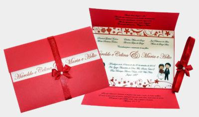 convites de casamento vermelho