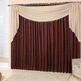 cortina para varão com bando marrom escura