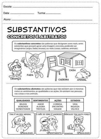 Atividades com SUBSTANTIVOS para estudar Português