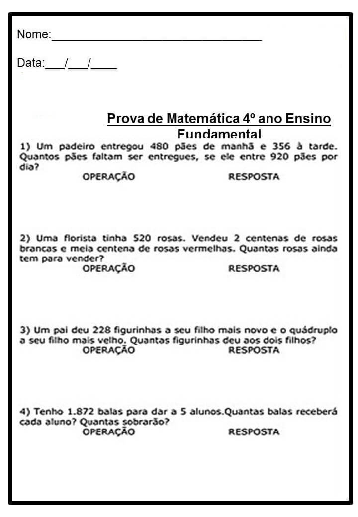 Suficiente Problemas de Matemática para 4º ano do Fundamental | Jet Dicas IN79